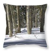 Birch Trees In Snow Throw Pillow