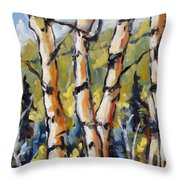 Birches Aglow By Prankearts Throw Pillow