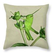 Bird Grasshopper Nymph Throw Pillow
