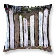 Bird House Fence With Black Cat Throw Pillow