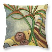 Bird Of Paradise Flowers And Fruits On A Carpet In Yellow Brown Green Throw Pillow