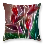 Bird Of Paradise Fractal Panel 2 Throw Pillow