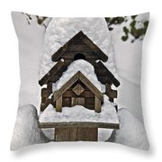 Birdhouse In Snow Throw Pillow