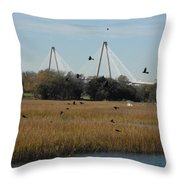 Birds And Bridge Throw Pillow
