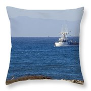 Birds Flying Over A Commercial Fishing Throw Pillow