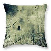Birds In Flight Against A Dark Sky Throw Pillow by Sandra Cunningham