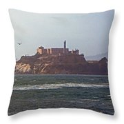 Birds In Free Flight At Alcatraz Throw Pillow