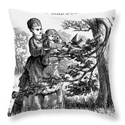 Birds Nest, 1873 Throw Pillow