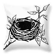 Birds Nest Throw Pillow