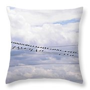 Birds On A Wire Pushed Throw Pillow