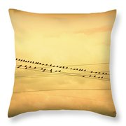 Birds On A Wire Yellow Orange Throw Pillow