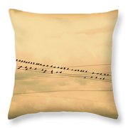 Birds On Wires Back In Time Throw Pillow