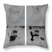 Birth Of A Snowman Throw Pillow
