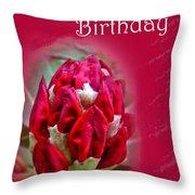Birthday Card - Red Azalea Buds Throw Pillow