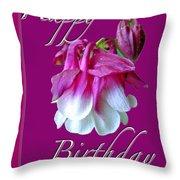 Birthday Greeting Card - Columbine Flower Throw Pillow