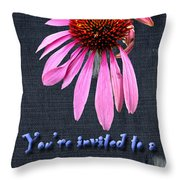 Birthday Party Invitation - Coneflower Throw Pillow