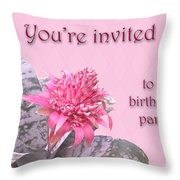 Birthday Party Invitation - Pink Flowering Bromeliad Throw Pillow