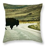 Bison Crossing Highway Throw Pillow