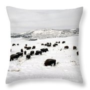 Bison Paw Away Snow With Head Throw Pillow