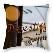 Bistro Sign For Digestives Throw Pillow