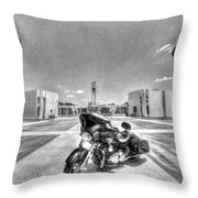 Black And White - Pgr At Houston National Cemetery Throw Pillow