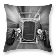 Black And White 32 Ford Throw Pillow by Steve McKinzie