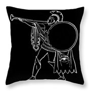 Black And White Ancient Greek Warrior Throw Pillow
