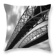 Black And White Blue Water Bridge Throw Pillow