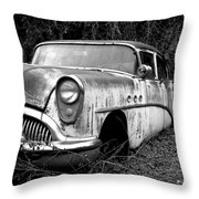 Black And White Buick Throw Pillow