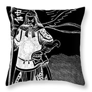 Black And White Chinese Warrior Throw Pillow