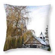 Black And White Church  Melverley Throw Pillow