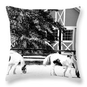 Black And White Clydesdale Grazing Throw Pillow