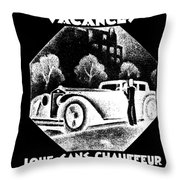 Black And White French Car Throw Pillow