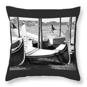 Black And White Gondolas Venice Italy Throw Pillow