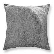 Black And White Hay Ball Throw Pillow