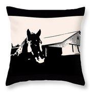 Black And White Horse Throw Pillow