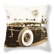 Black And White Hot Rod Throw Pillow