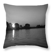 Black And White Of Sunset On Walter Wirth Lake Throw Pillow