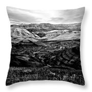 Black And White Painted Hills Throw Pillow