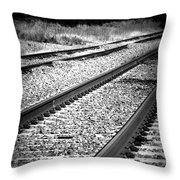 Black And White Railroad Tracks Throw Pillow