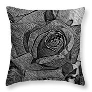 Black And White Rose Sketch Throw Pillow