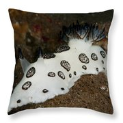 Black And White Spotted Budibranch Throw Pillow