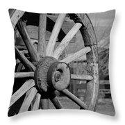 Black And White Wagon Wheel Throw Pillow