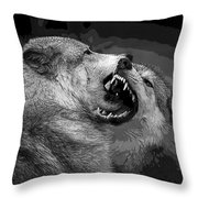 Black And White Wolf Fight Throw Pillow