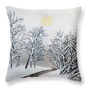 Black And White Woods Throw Pillow