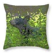Black Bear In Green Throw Pillow