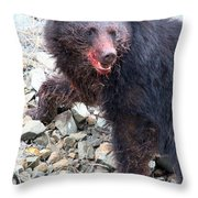 Black Bear Bloodied Lunch Throw Pillow
