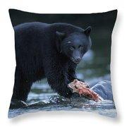 Black Bear With Salmon Carcass Throw Pillow