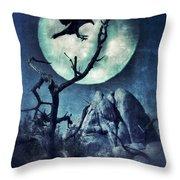 Black Bird Landing On A Branch In The Moonlight Throw Pillow