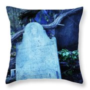 Black Bird Perched On Old Tombstone Throw Pillow